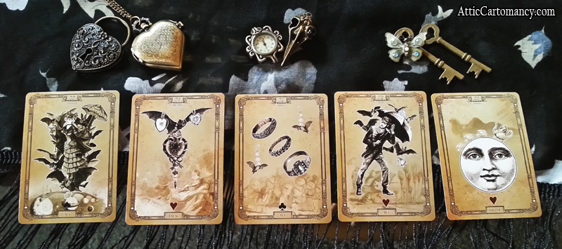 Attic Cartomancy Tea Bats Lenormand Five Card Spread