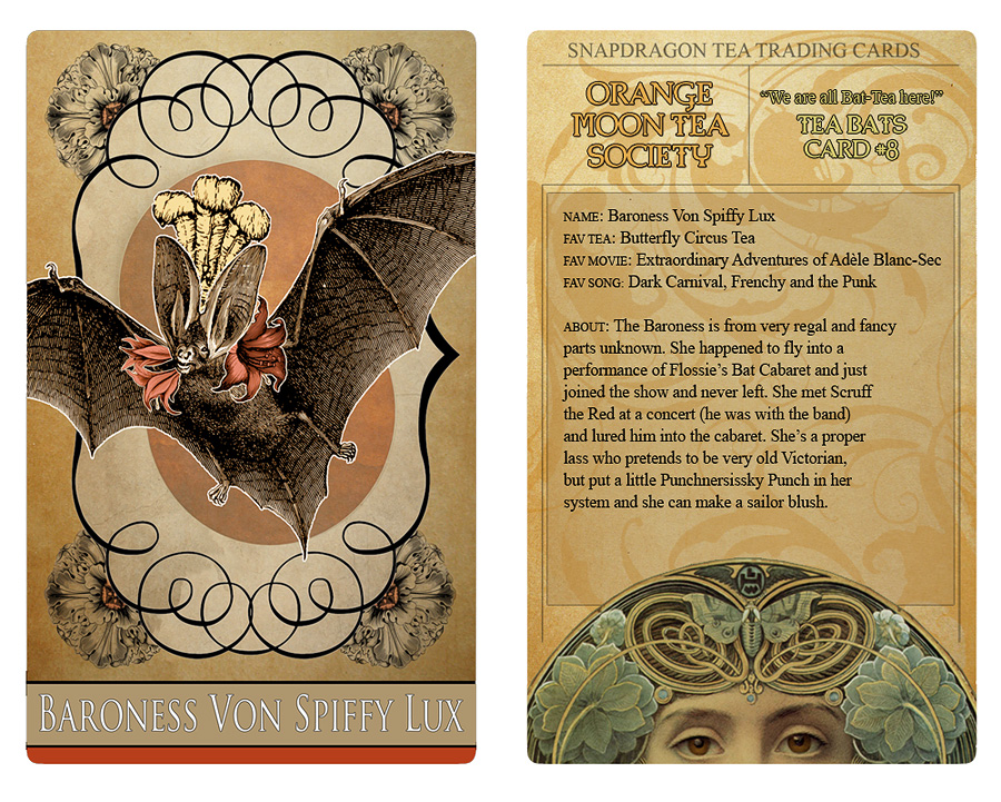 Attic Cartomancy - Tea Bats Trading Cards for April 17 Bat Appreciation Day