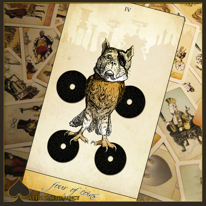 Attic Cartomancy - Card of the Day - The Isidore Tarot Four of Coins