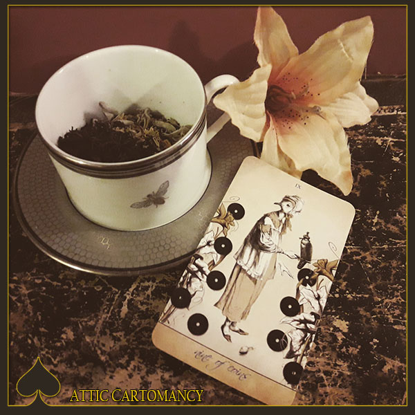 Attic Cartomancy - Tea and Tarot Tuesday - Nine of Coins