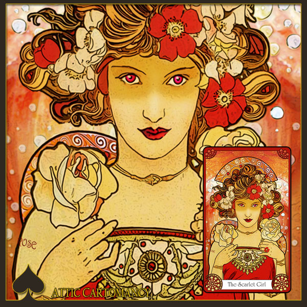 Attic Cartomancy - Oracles and Flutter-Byes - Scarlet Girl Card