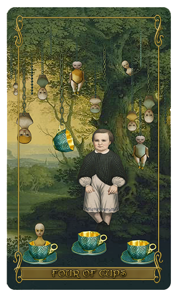 Madam Lydia Wilhelmina's Tarot of Monsters, the Macabre and Autumn Scene - Four of Cups