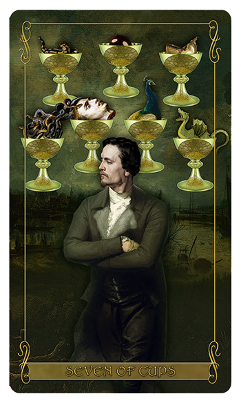 Madam Lydia  Wilhelmina's Tarot of Monsters, the Macabre and Autumn Scenes = Seven of Cups
