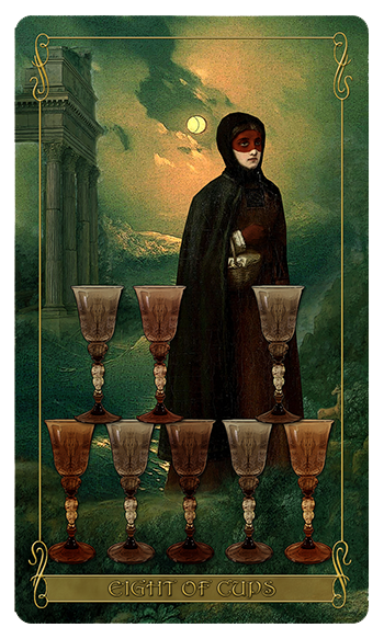 Madam Lydia Wilhelmina's Tarot of Monsters, the Macabre and Autumn Scenes - Eight of Cups