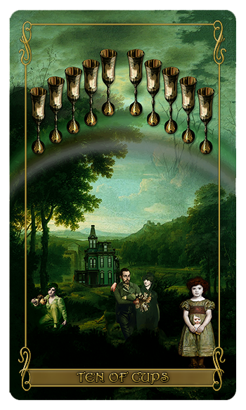 Madam Lydia  Wilhelmina's Tarot of Monsters, the Macabre and Autumn Scenes = Ten of Cups