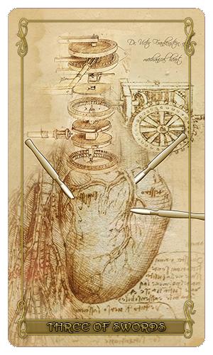 Madam Lydia Wilhelmina's Tarot of Monsters, the Macabre and Autumn Scenes - Three of Swords