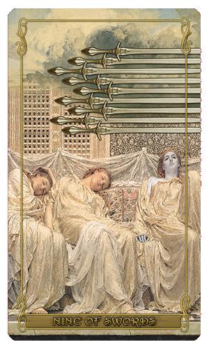Madam Lydia Wilhelmina's Tarot of Monsters, the Macabre and Autumn Scenes - Nine of Swords