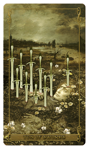 Madam Lydia Wilhelmina's Tarot of Monsters, the Macabre and Autumn Scenes - Ten of Swords