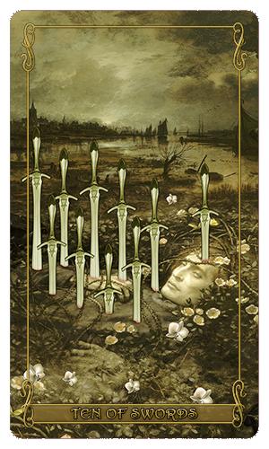 Madam Lydia Wilhelmina's Tarot of Monsters, the Macabre and Autumn Scenes - Ten of Swords