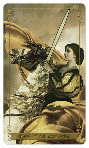 Madam Lydia Wilhelmina's Tarot of Monsters, the Macabre and Autumn Scenes - Knight of Swords