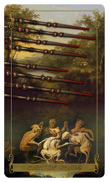 Madam Lydia Wilhelmina's Tarot of Monsters, the Macabre and Autumn Scenes - Eight of Wands
