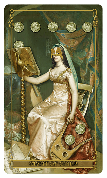 Madam Lydia Wilhelminas Tarot of Monsters, the Macabre and Autumn Scenes - Eight of Coins