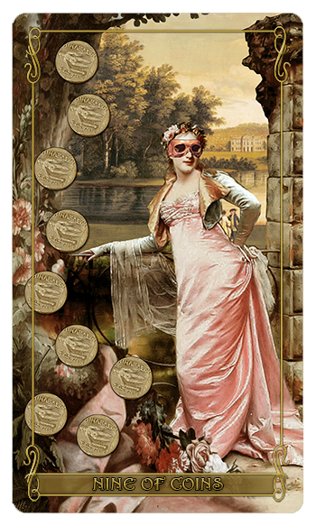 Madam Lydia Wilhelminas Tarot of Monsters, the Macabre and Autumn Scenes - Nine of Coins
